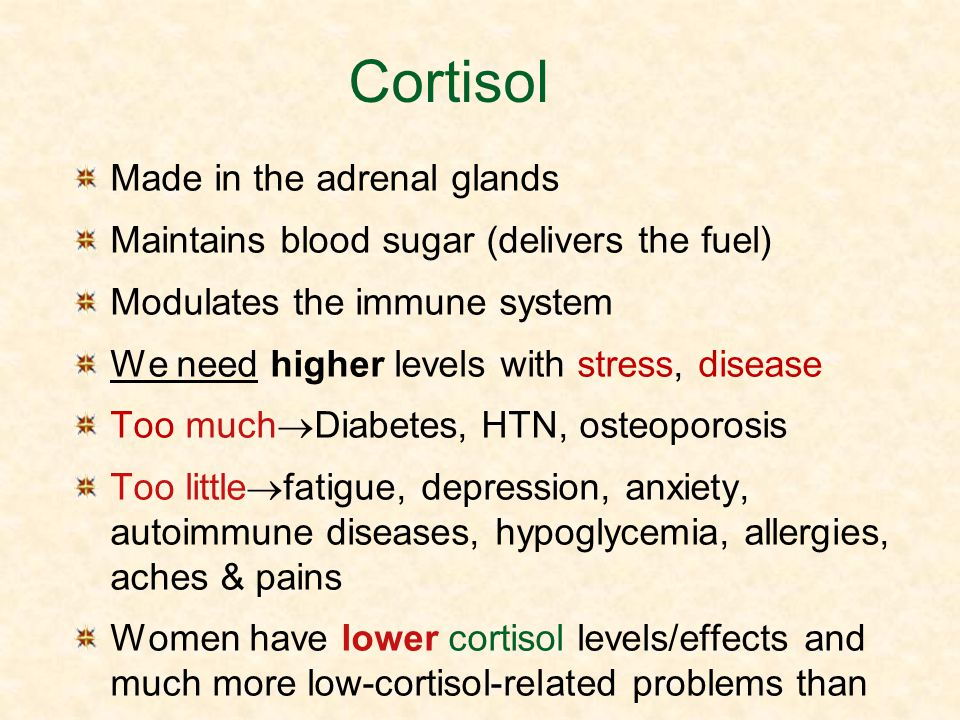 Cortisol Made in the adrenal glands