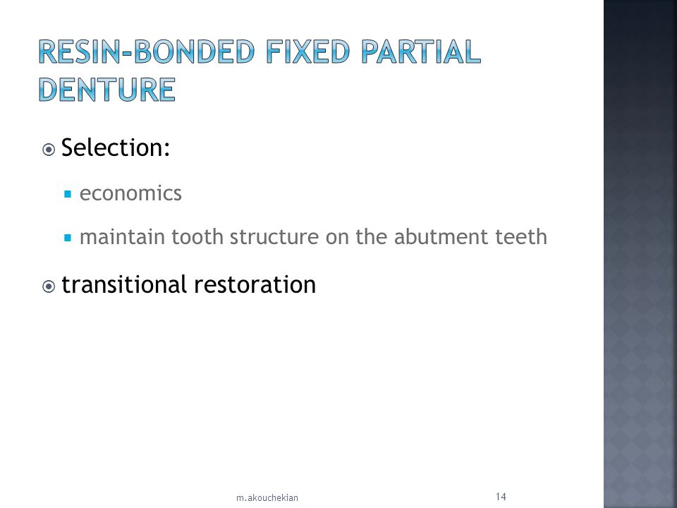 Resin-Bonded Fixed Partial Denture