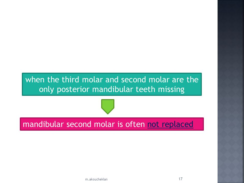 mandibular second molar is often not replaced