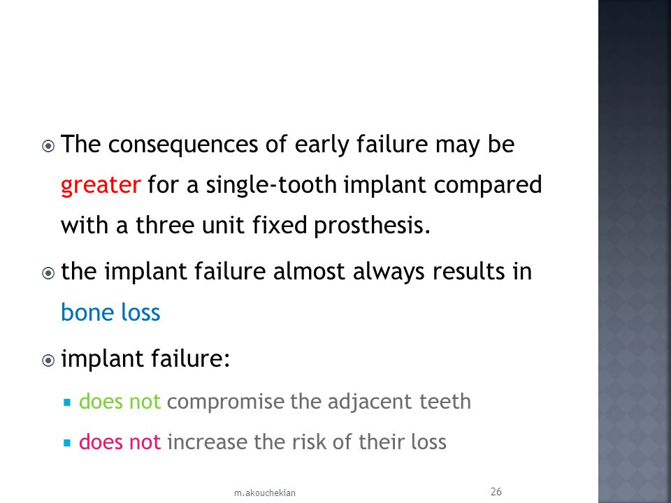 the implant failure almost always results in bone loss