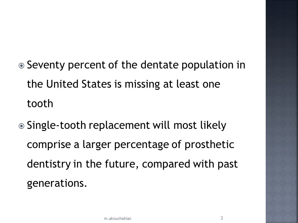 Seventy percent of the dentate population in the United States is missing at least one tooth