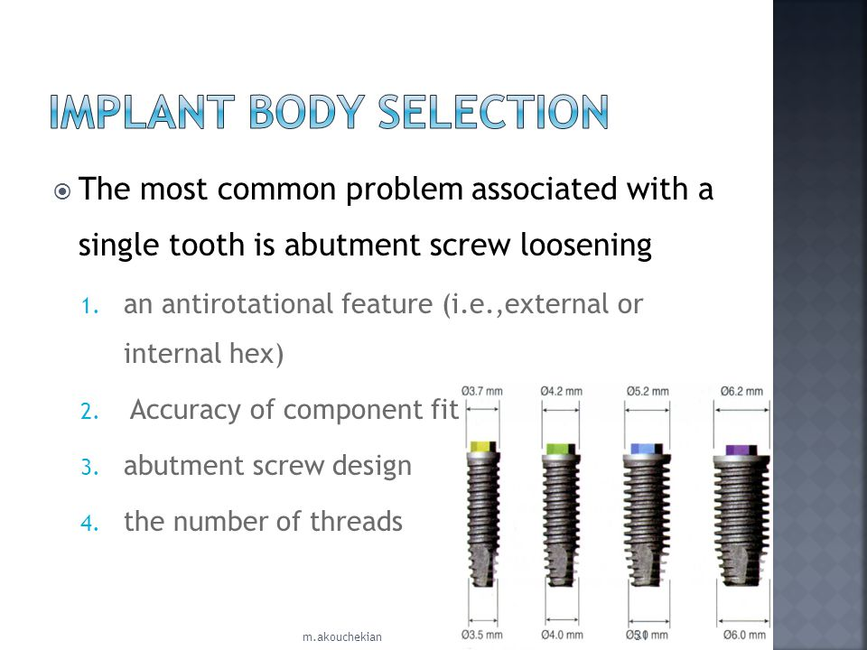 IMPLANT BODY SELECTION