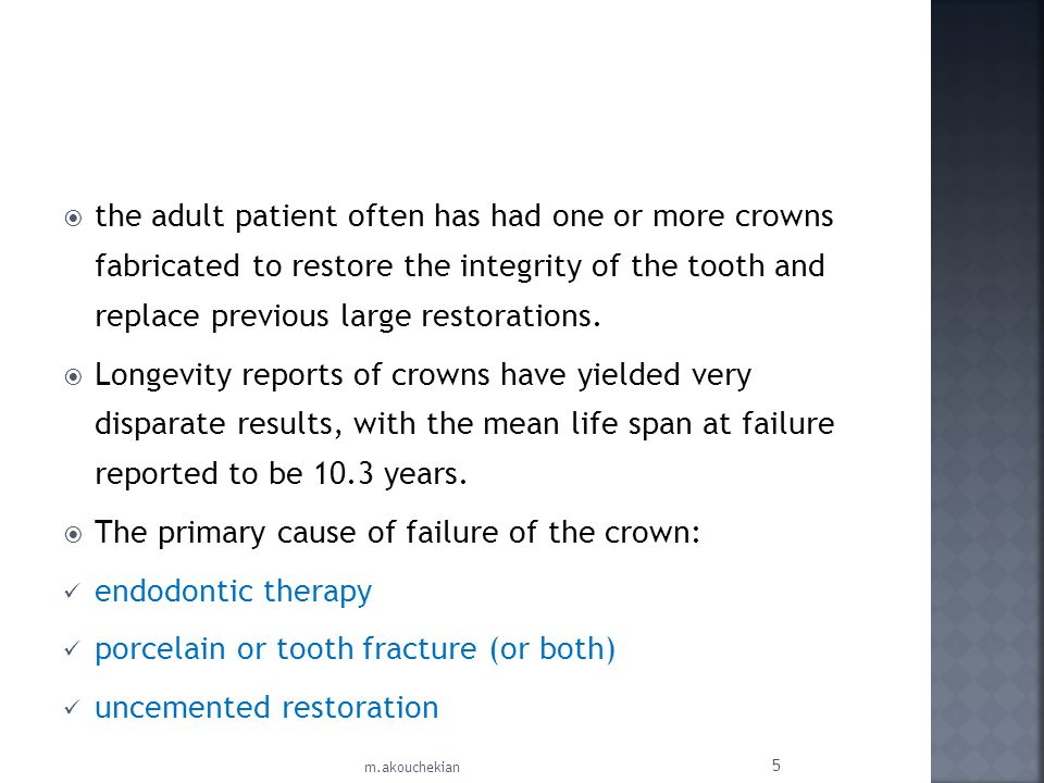 The primary cause of failure of the crown: endodontic therapy