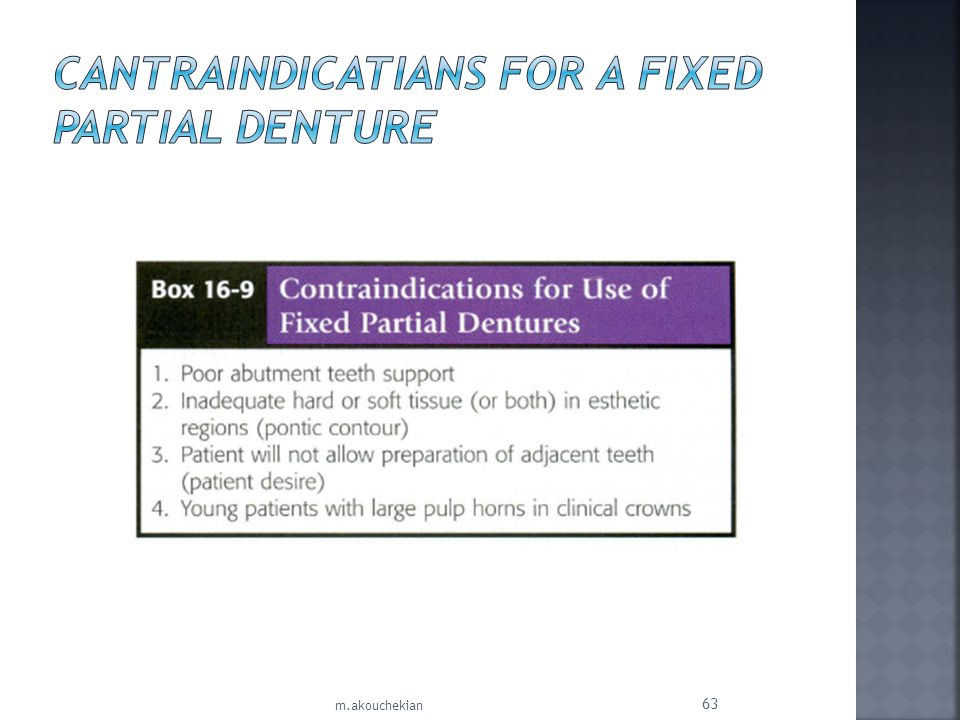 Cantraindicatians for a Fixed Partial Denture
