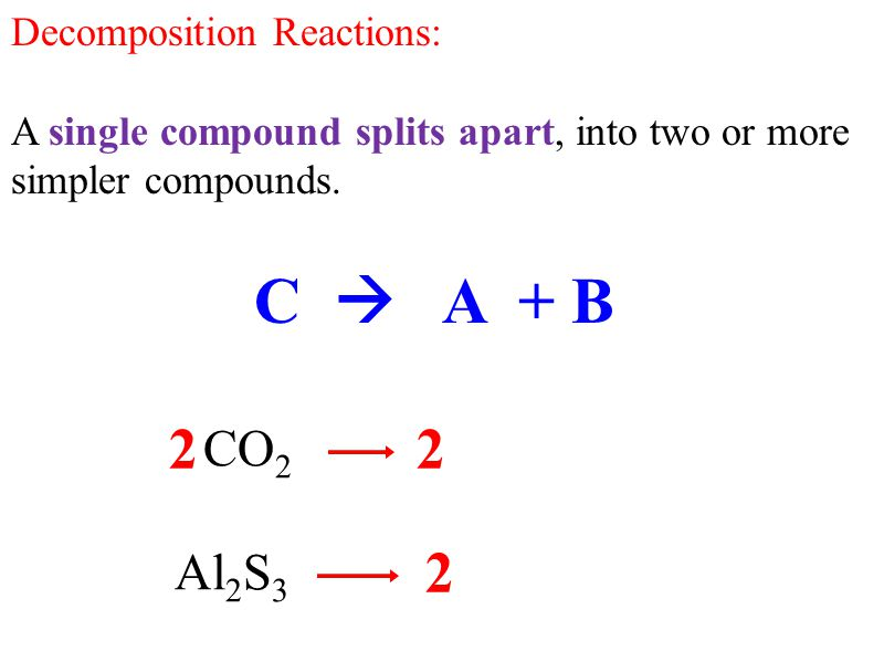 C  A + B 2 2 2 3 CO2 CO + O2 Al2S3 Al + S Decomposition Reactions: