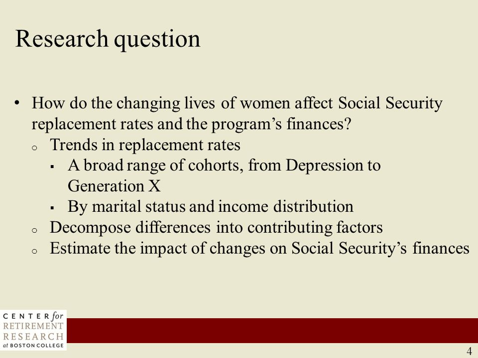 Preview of results Decline in Social Security replacement rates