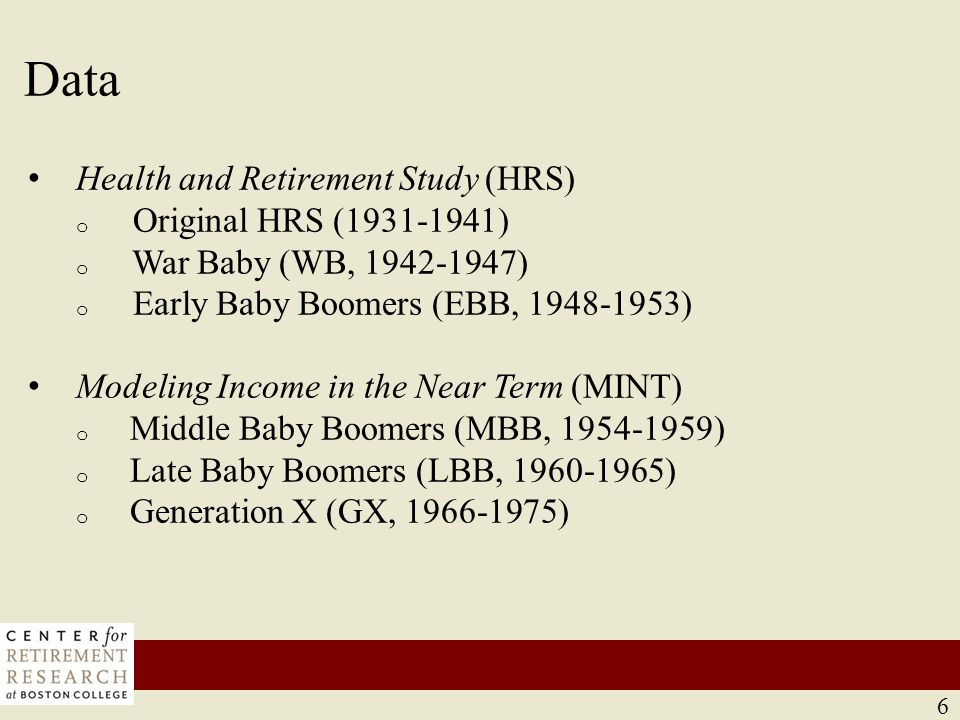 Methods The replacement rate: Social Security benefit/career average indexed earnings (AIME) Construct lifetime earnings profile.