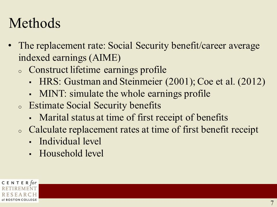 Changes in replacement rates: current retirees