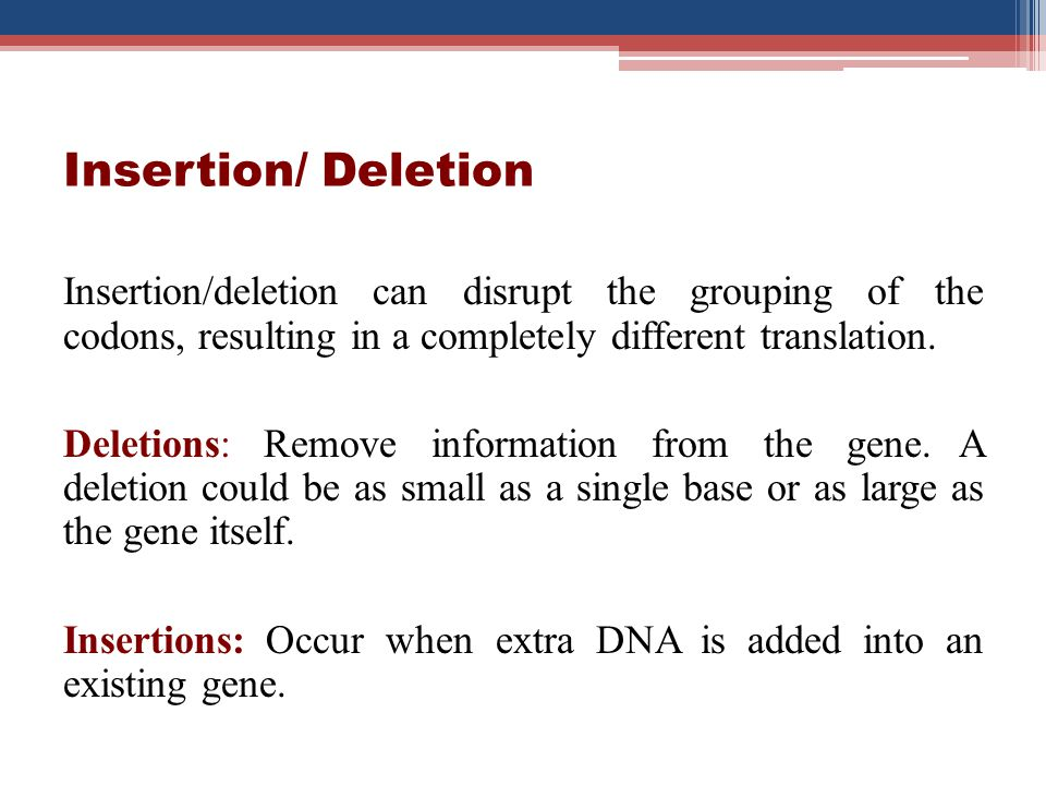Insertion/ Deletion Insertion/deletion can disrupt the grouping of the codons, resulting in a completely different translation.