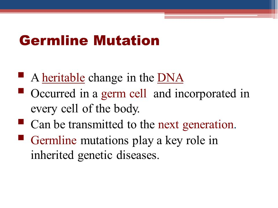 Germline Mutation A heritable change in the DNA