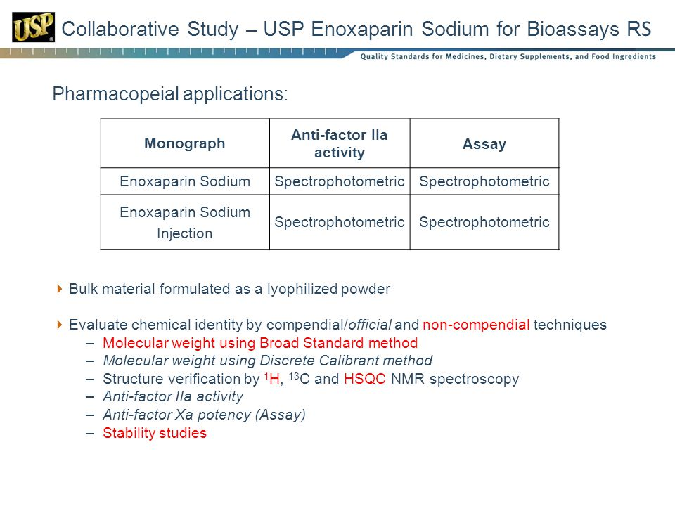 Collaborative Study – USP Enoxaparin Sodium for Bioassays RS
