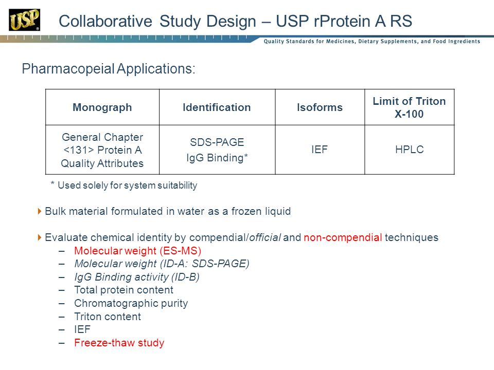 Collaborative Study Design – USP rProtein A RS