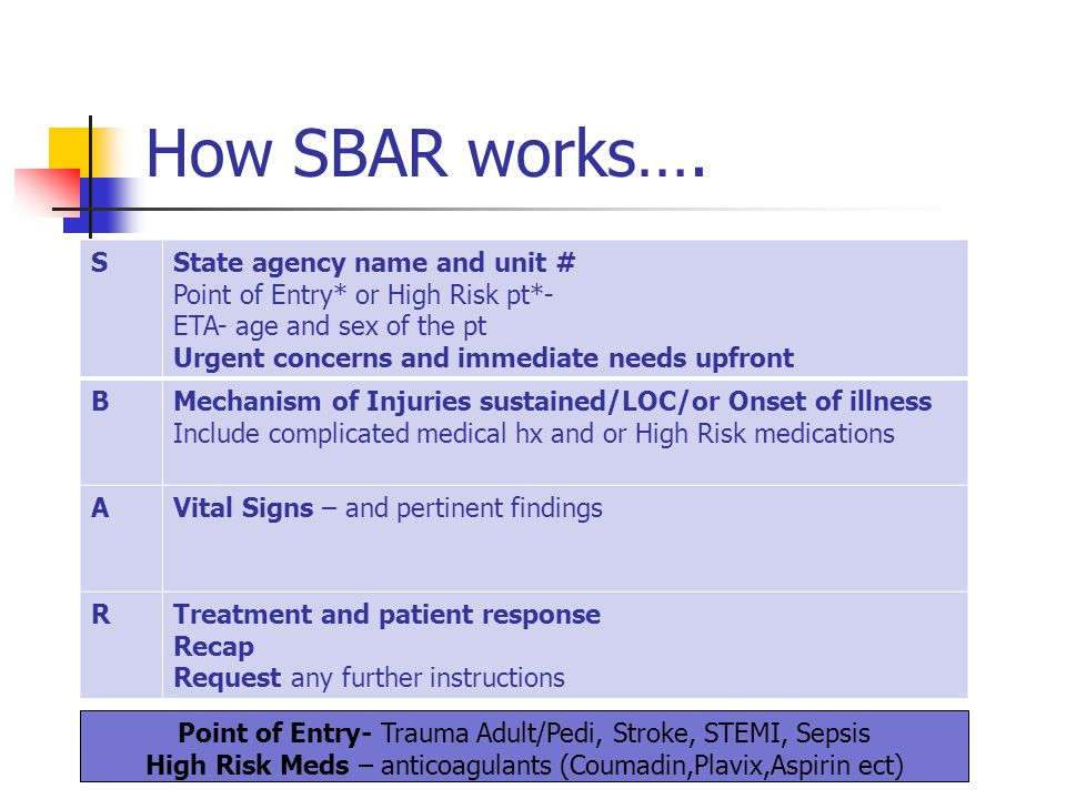 How SBAR works…. S State agency name and unit #