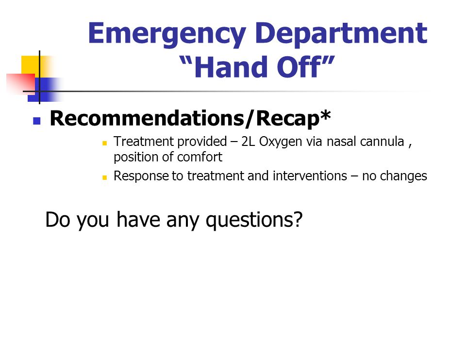 Emergency Department Hand Off