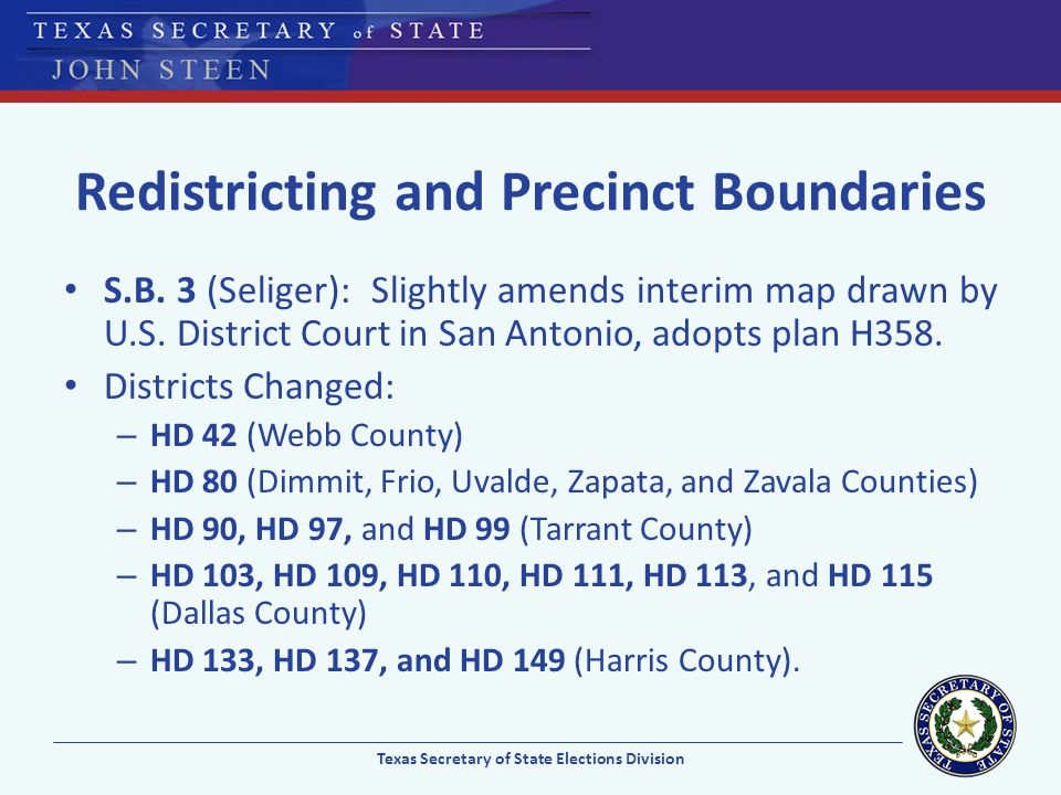 Redistricting and Precinct Boundaries