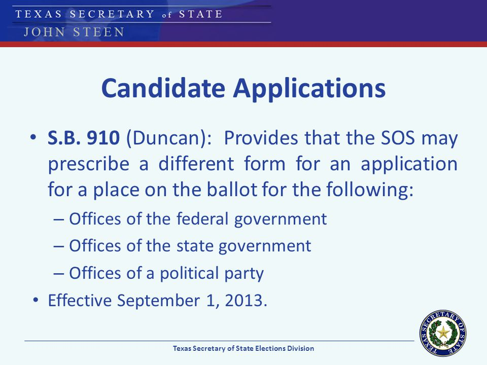 Candidate Applications