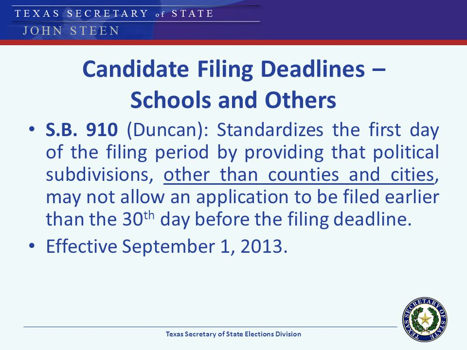 Candidate Filing Deadlines – Schools and Others