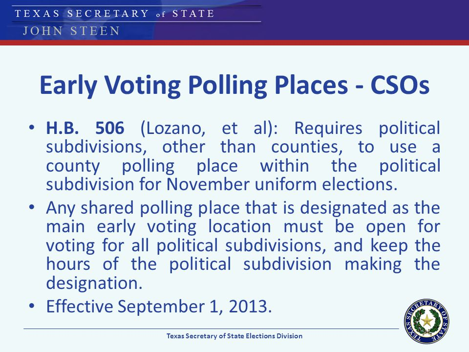 Early Voting Polling Places - CSOs