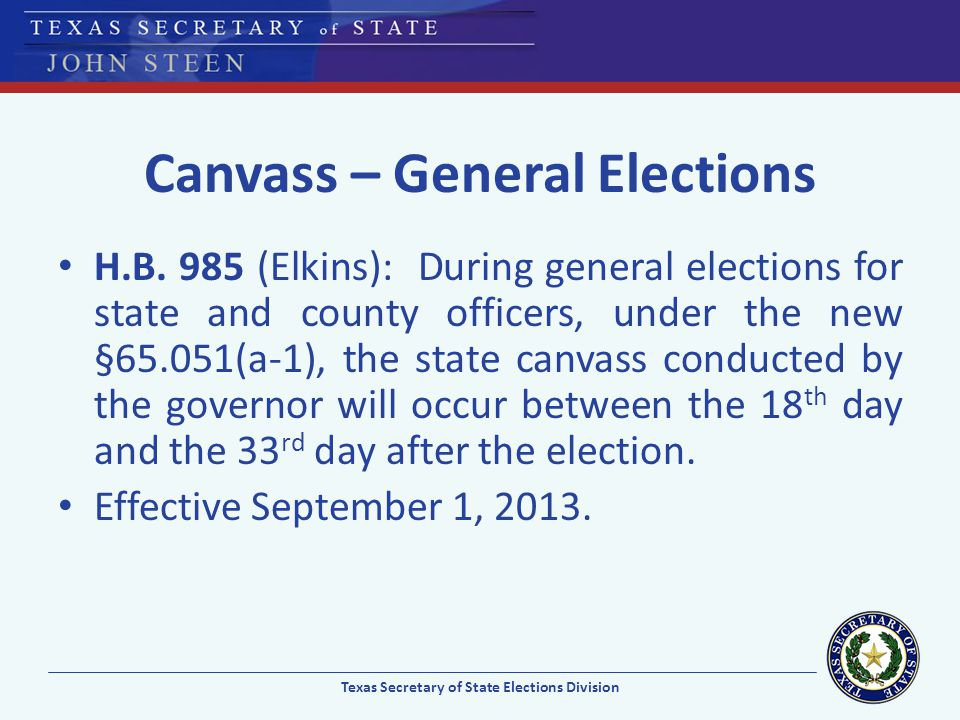 Canvass – General Elections