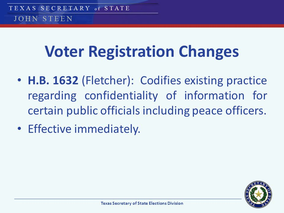 Voter Registration Changes