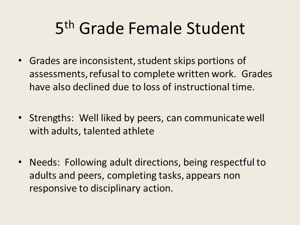 5th Grade Female Student