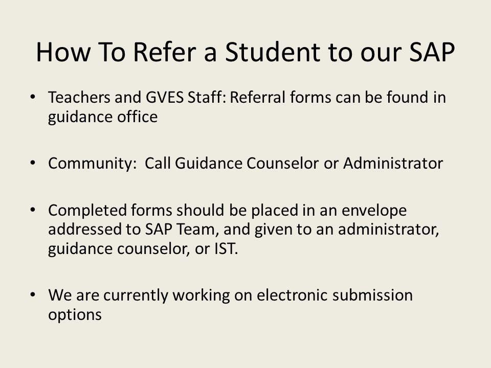 How To Refer a Student to our SAP