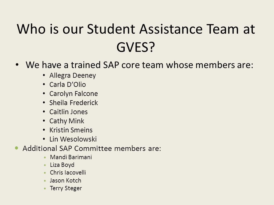 Who is our Student Assistance Team at GVES