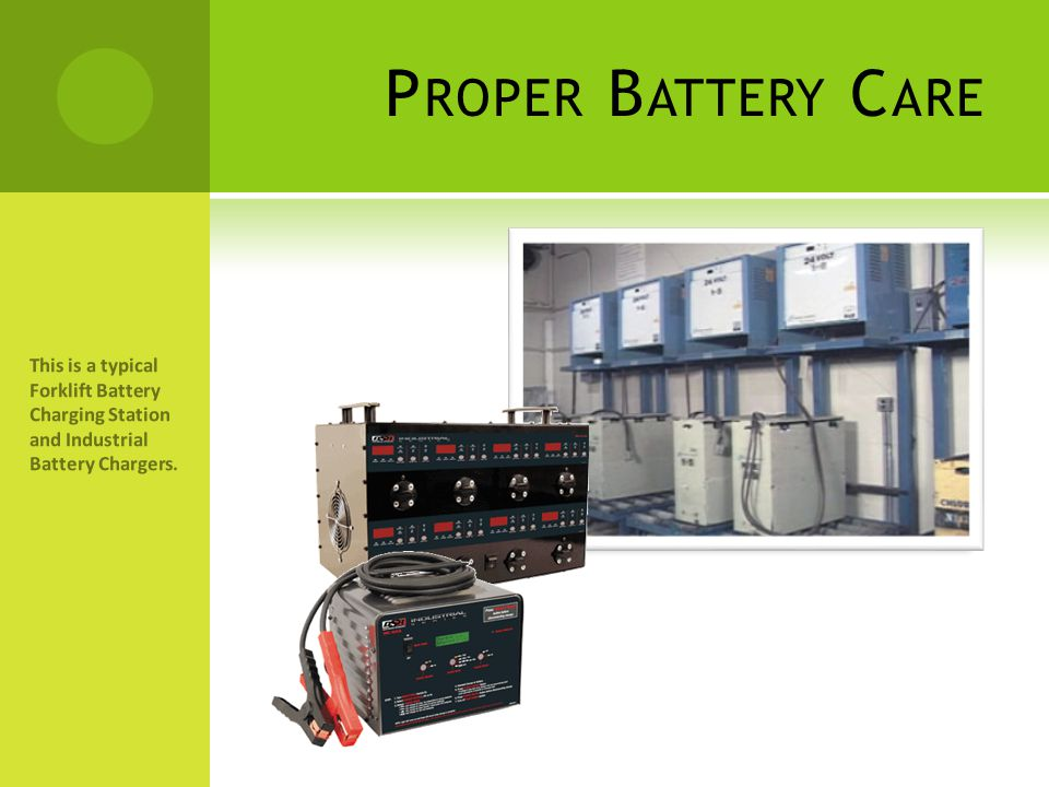 Proper Battery Care This is a typical Forklift Battery Charging Station and Industrial Battery Chargers.