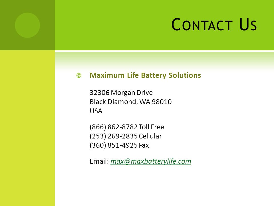 Contact Us Maximum Life Battery Solutions