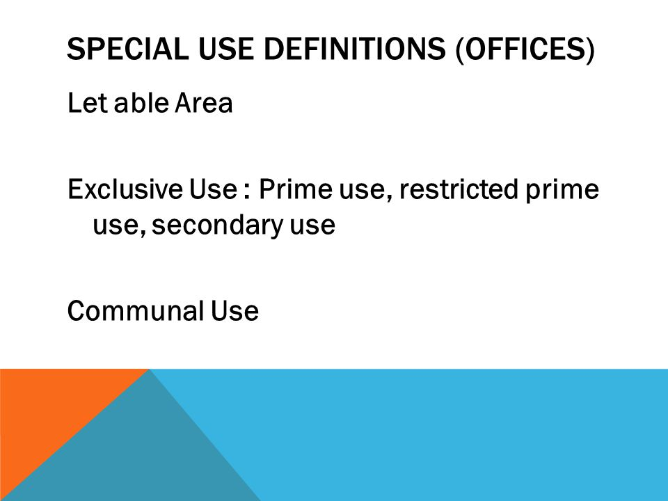SPECIAL USE DEFINITIONS (Offices)