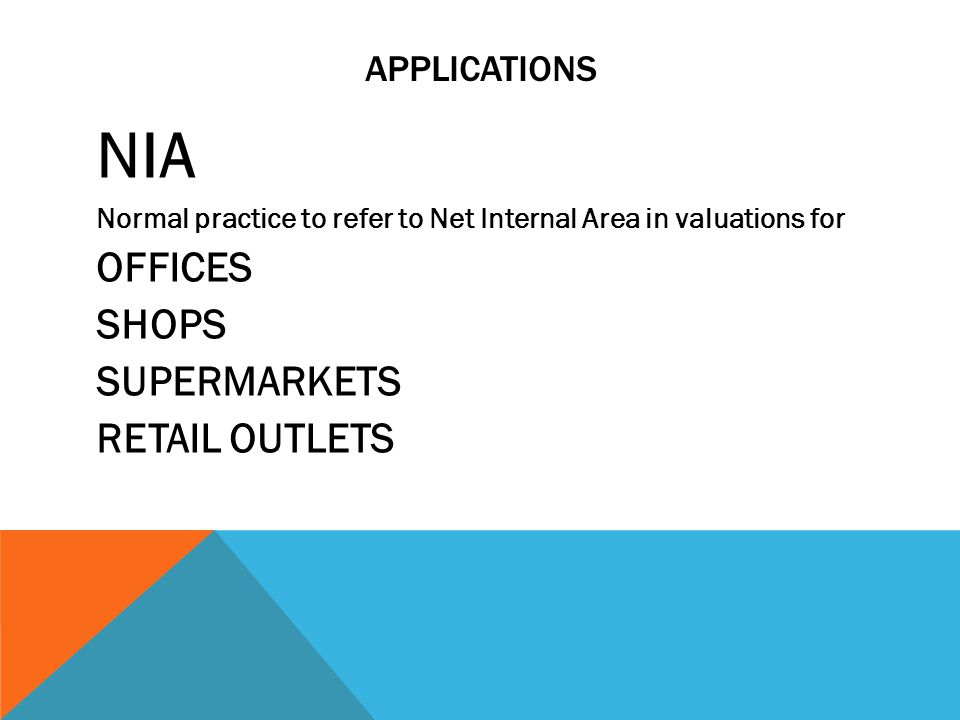 NIA OFFICES SHOPS SUPERMARKETS RETAIL OUTLETS APPLICATIONS