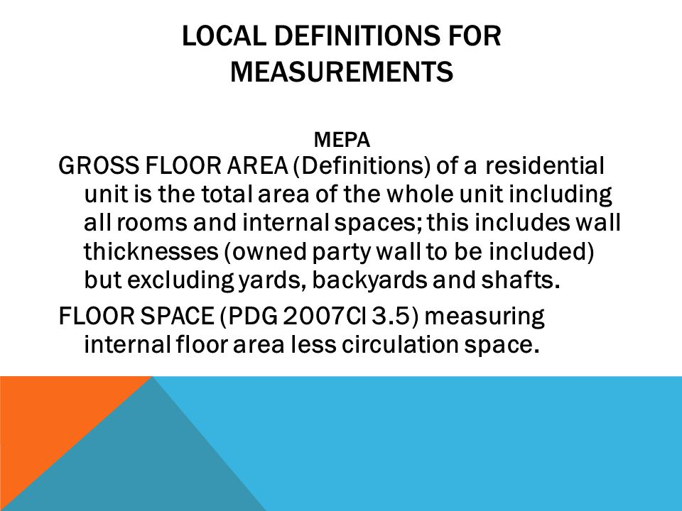 LOCAL DEFINITIONS FOR MEASUREMENTS MEPA