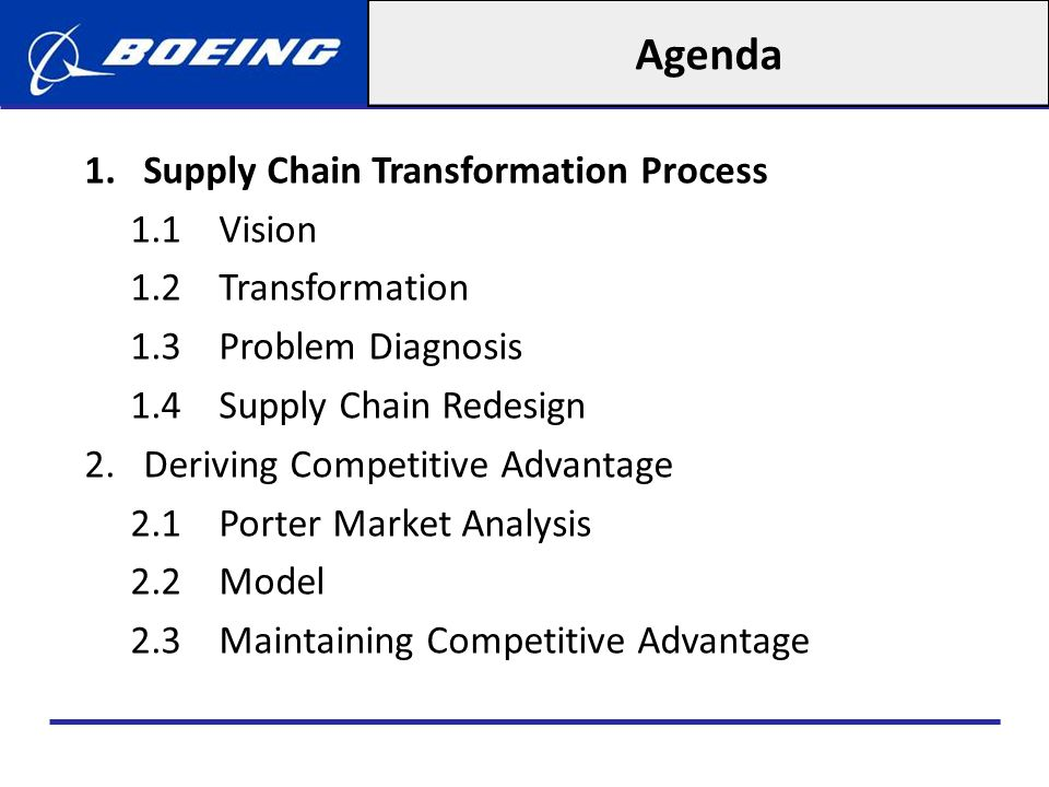 Agenda Supply Chain Transformation Process 1.1 Vision
