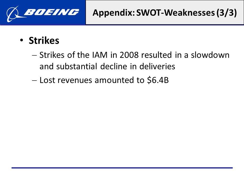 Appendix: SWOT-Weaknesses (3/3)