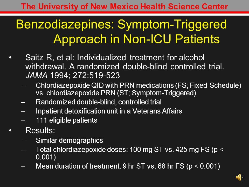 Benzodiazepines: Symptom-Triggered Approach in Non-ICU Patients