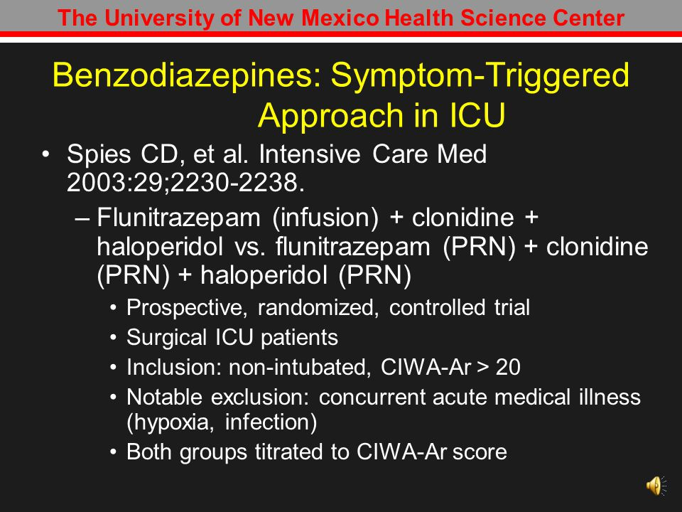 Benzodiazepines: Symptom-Triggered Approach in ICU