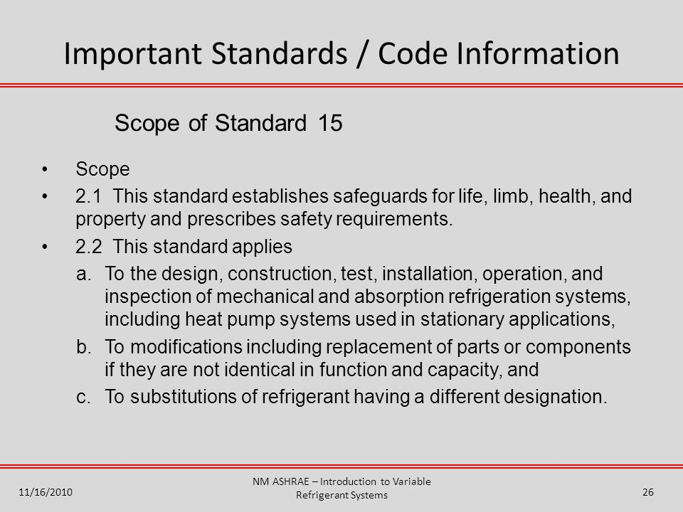 Important Standards / Code Information