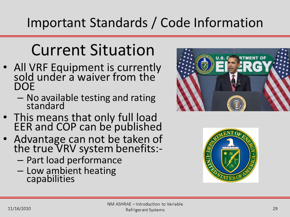 Current Situation Important Standards / Code Information