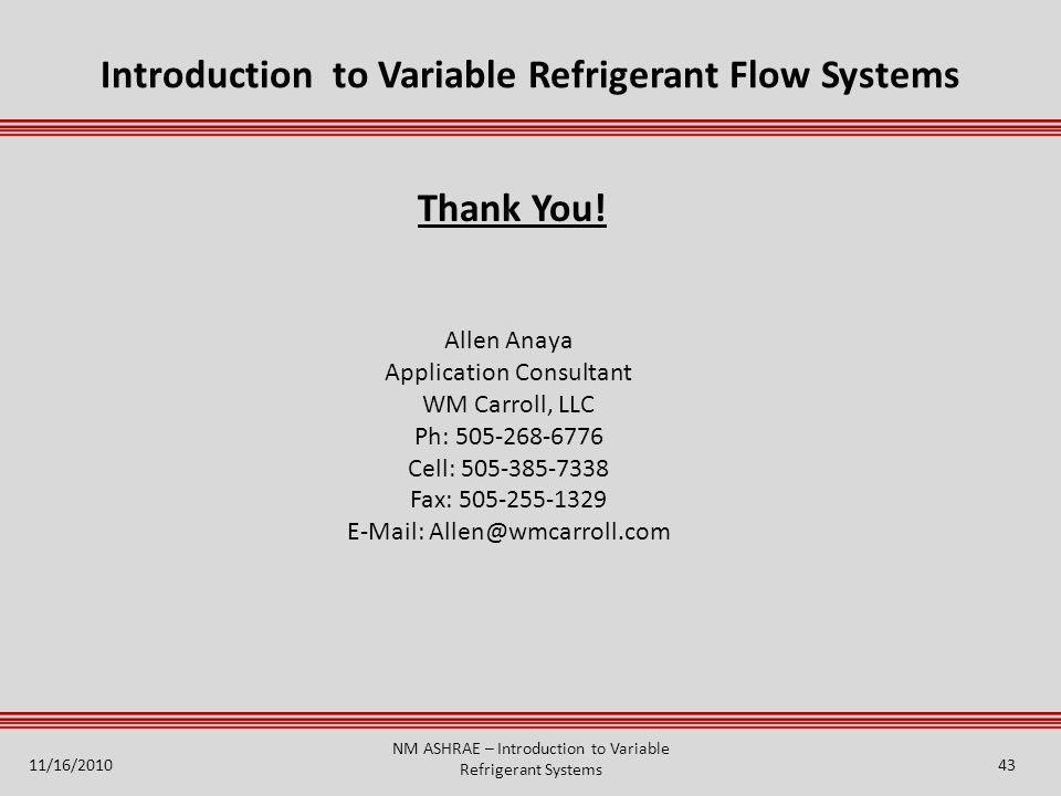 Introduction to Variable Refrigerant Flow Systems
