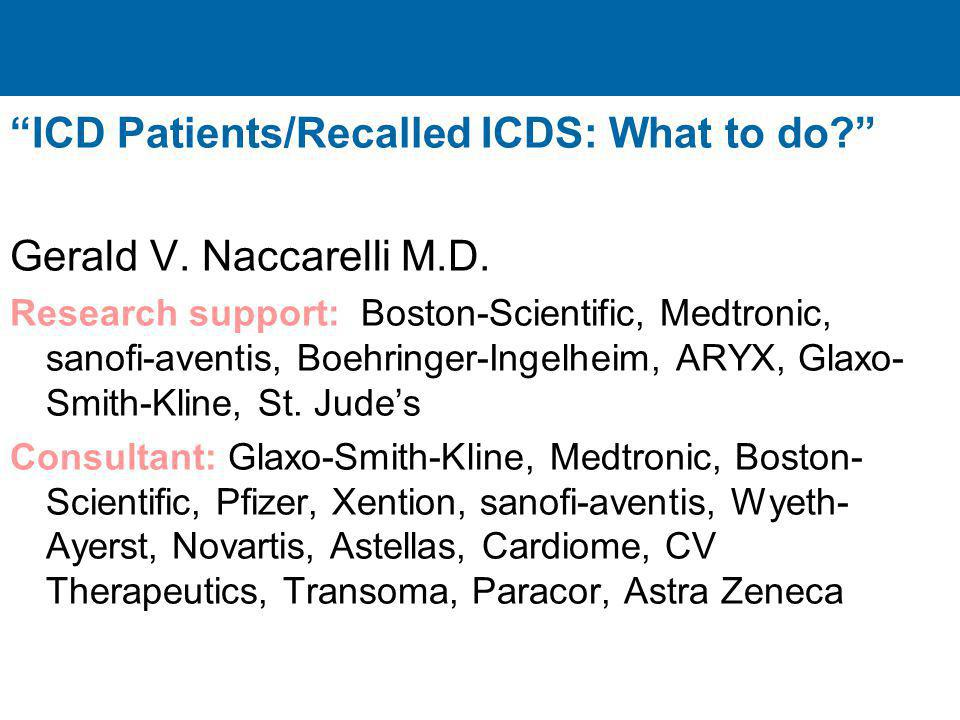 ICD Patients/Recalled ICDS: What to do Gerald V. Naccarelli M.D.