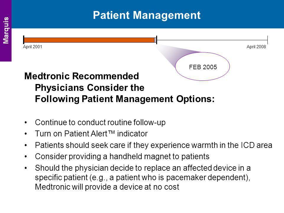 Patient Management Marquis. April 2001. April 2008. FEB 2005.