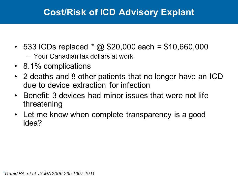 Cost/Risk of ICD Advisory Explant