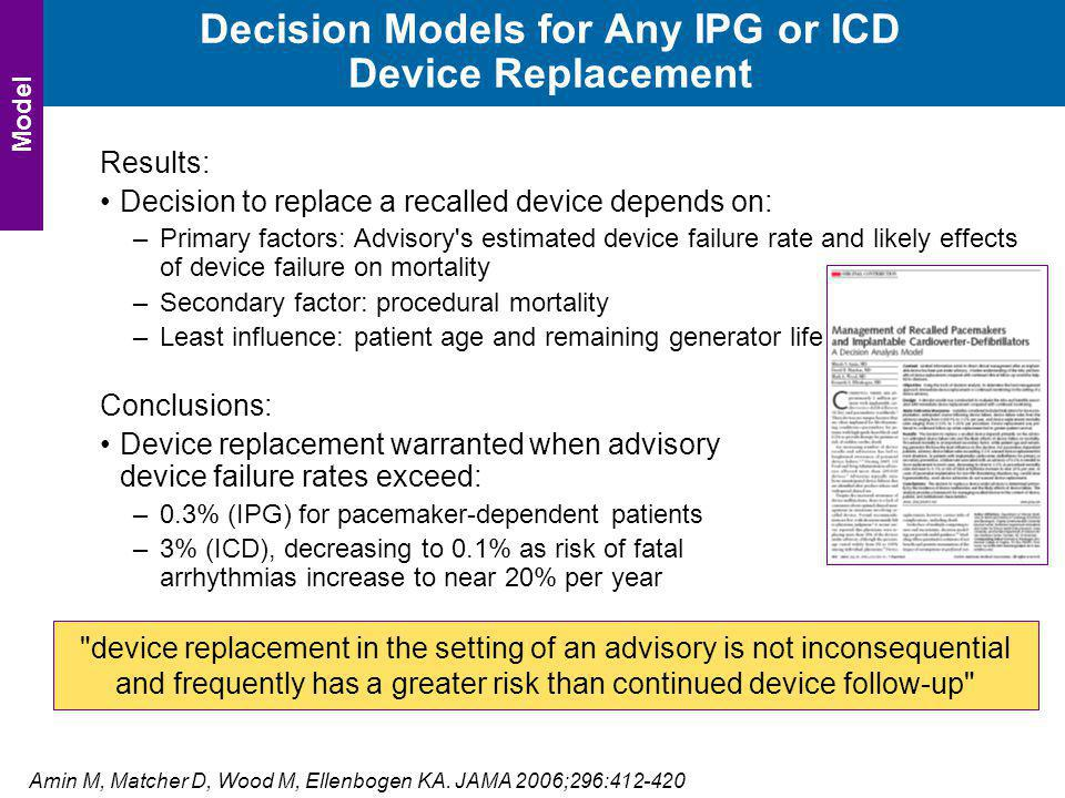 Decision Models for Any IPG or ICD Device Replacement