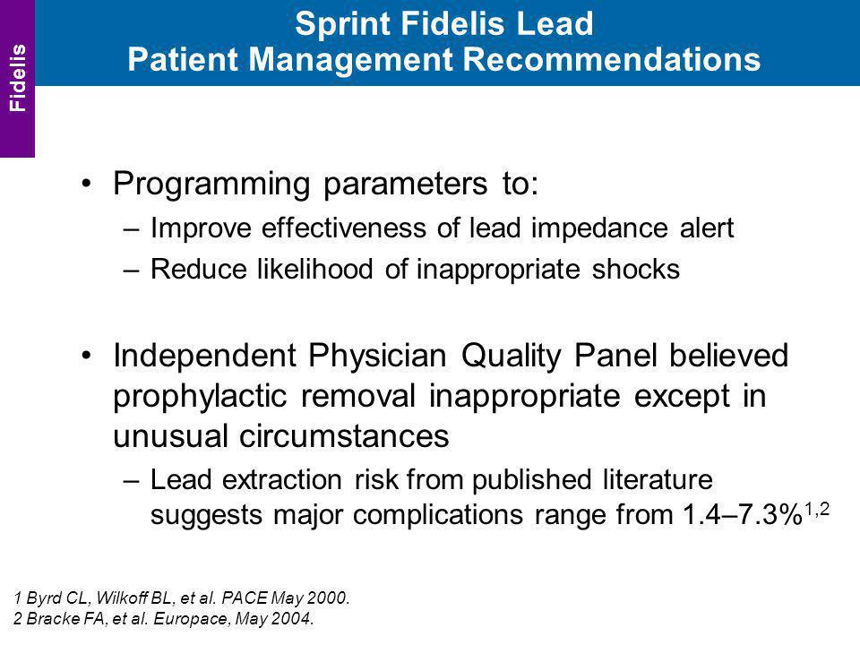 Sprint Fidelis Lead Patient Management Recommendations