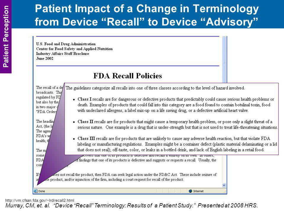 Patient Impact of a Change in Terminology from Device Recall to Device Advisory