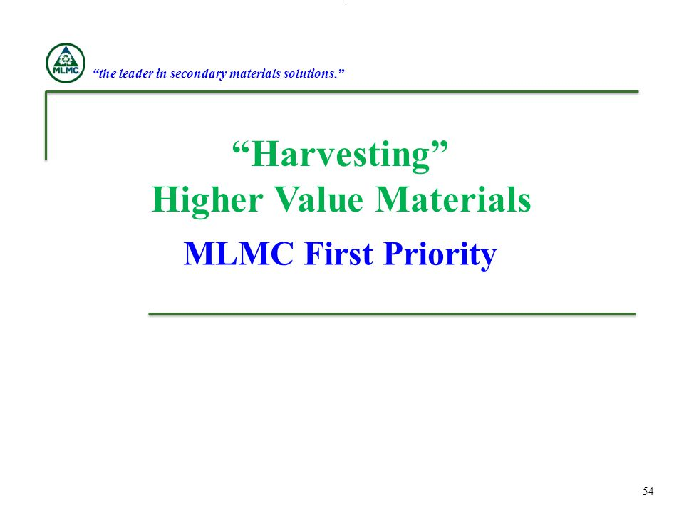 the leader in secondary materials solutions® Higher Value Materials