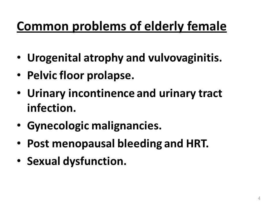 Common problems of elderly female