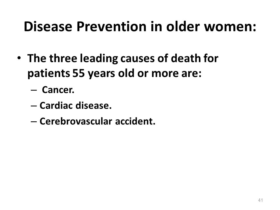 Disease Prevention in older women: