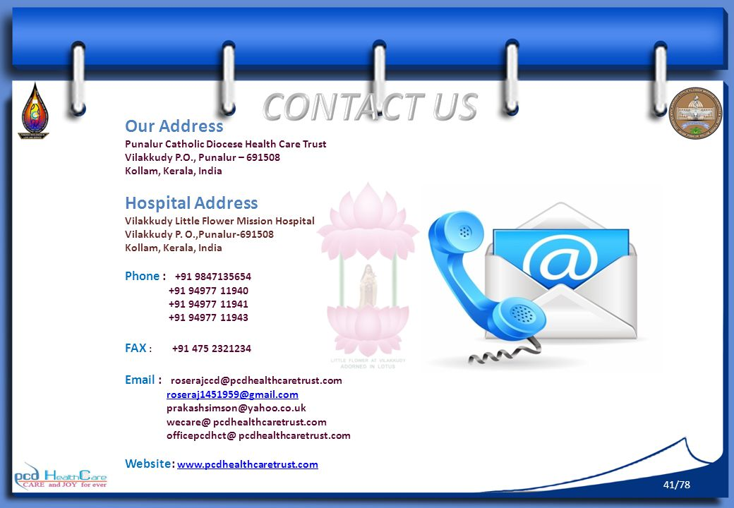 CONTACT US Our Address Hospital Address