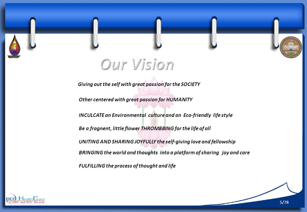 Our Vision Giving out the self with great passion for the SOCIETY